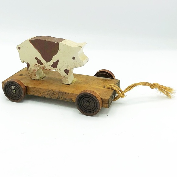 Other - Primitive Wooden Pig Pull Cart